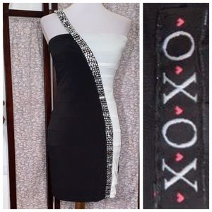 XOXO black and white one-shoulder party dress.